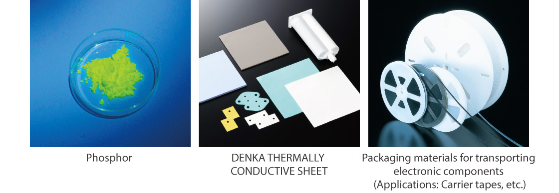 Phosphor,DENKA THERMALLY CONDUCTIVE SHEET,Packaging materials for transporting electronic components (Applications: Carrier tapes, etc.)
