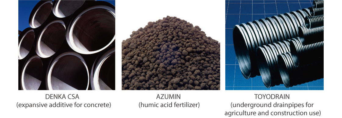 DENKA CSA (expansive additive for concrete),AZUMIN (humic acid fertilizer),TOYODRAIN (underground drainpipes for agriculture and construction use)