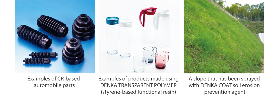 Examples of CR-based automobile parts,Examples of products made using DENKA TRANSPARENT POLYMER (styrene-based functional resin) ,A slope that has been sprayed with DENKA COAT soil erosion prevention agent