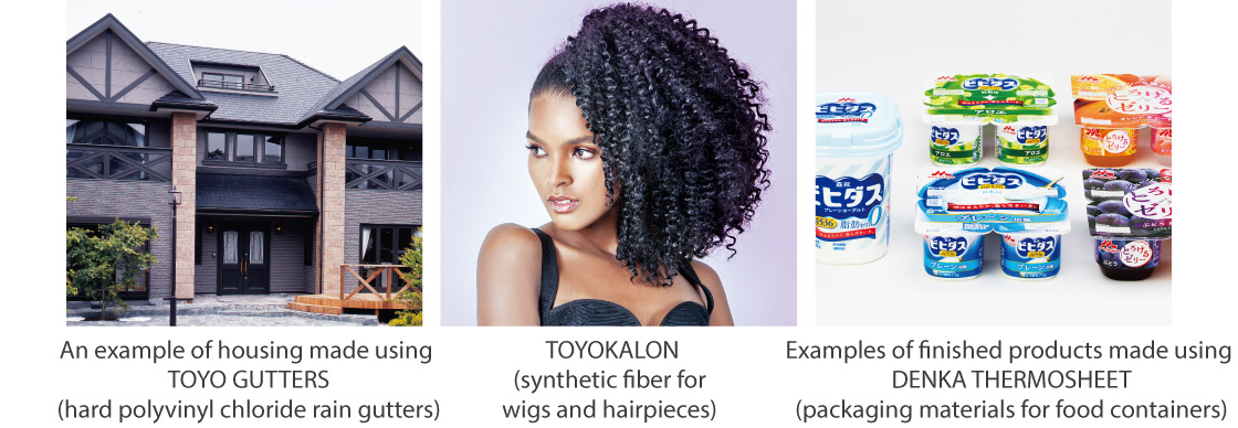 An example of housing made using TOYO GUTTERS (hard polyvinyl chloride rain gutters),TOYOKALON (synthetic fiber for wigs and hairpieces),Examples of finished products made using DENKA THERMOSHEET (packaging materials for food containers)